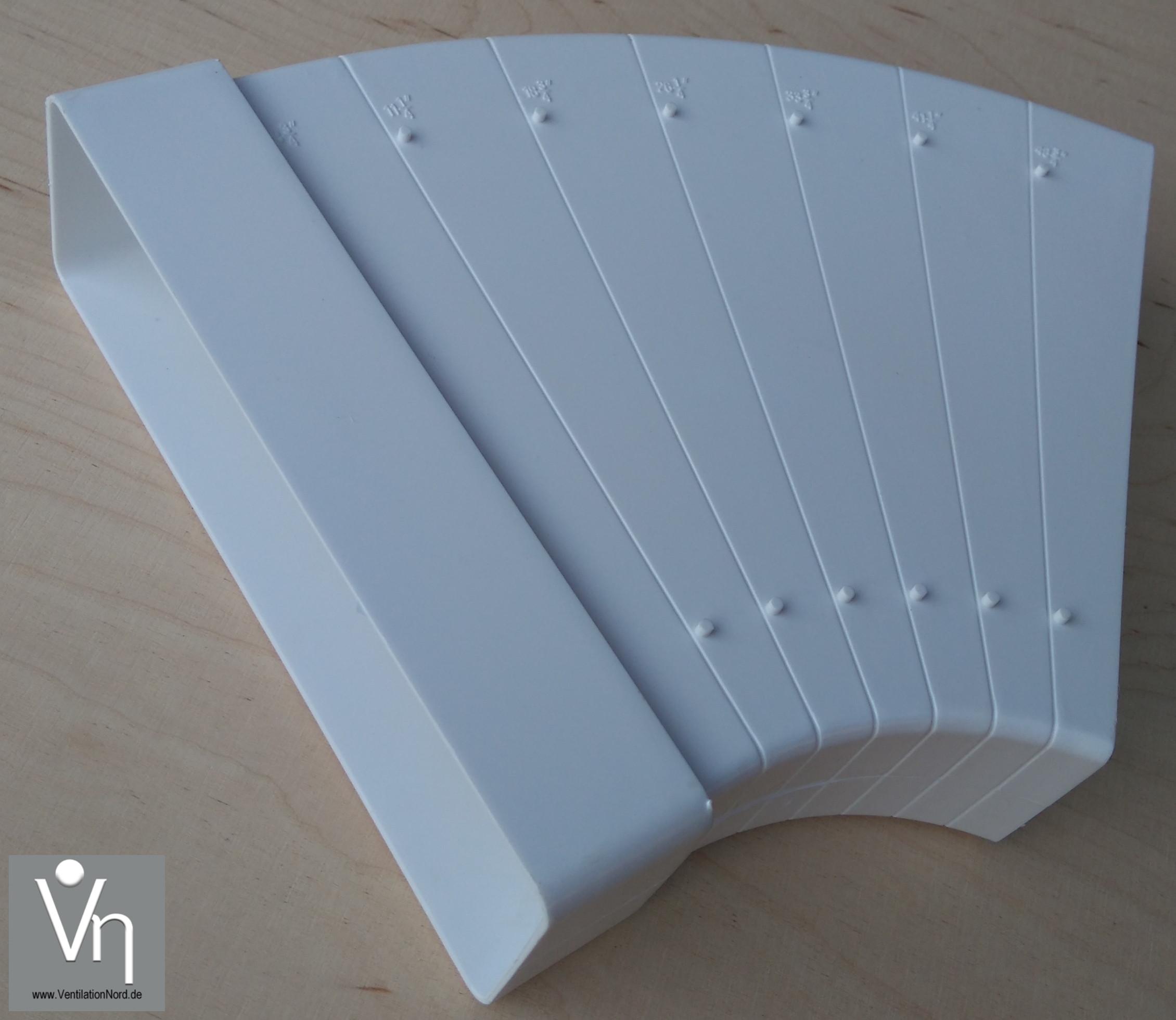 Gut bekannt Abluftkanal 60x205mm Dunstabzug Flachkanal Bogen 7,5° bis 45 XZ44