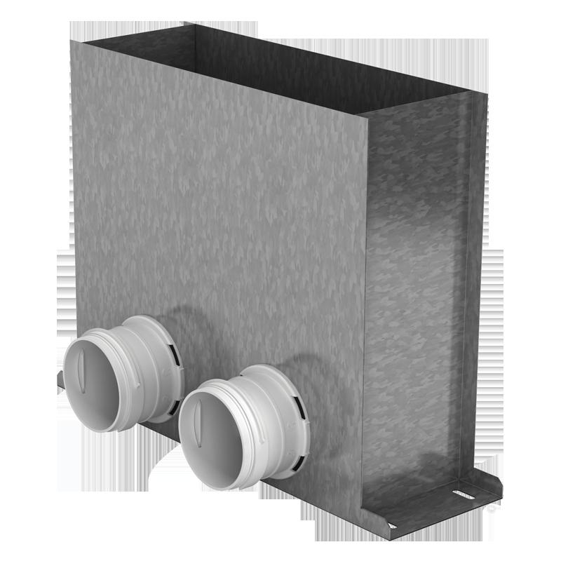 Anschluss-kasten 2xØ75mm Stahl verzinkt für Lüftungsgitter