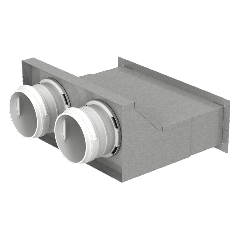 Wandanschluss-kasten 2xØ75mm Stahl verzinkt für Lüftungsgitter