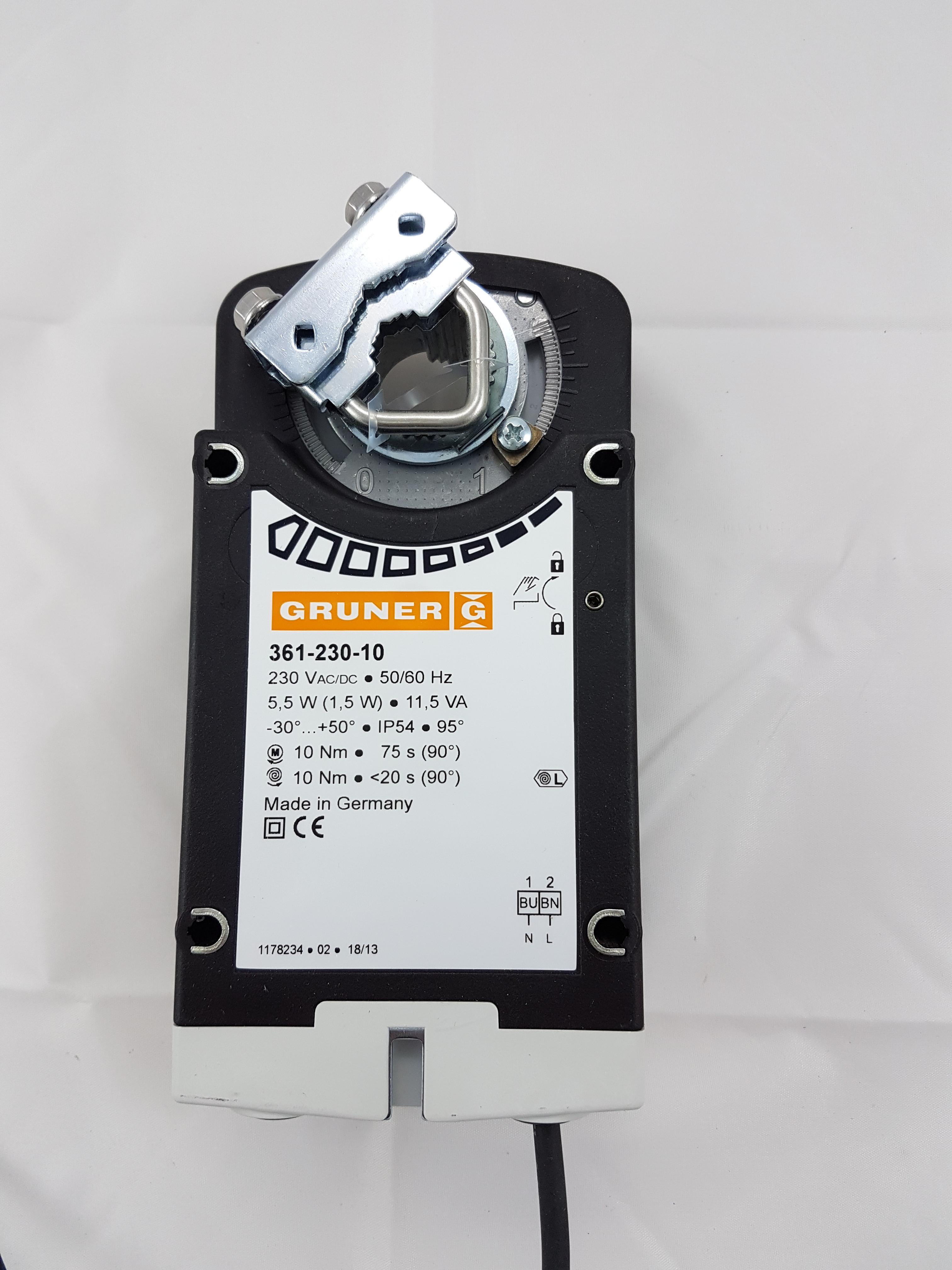 Gruner Klappenstellantrieb 361-230-10 Federrücklauf 230V 10Nm