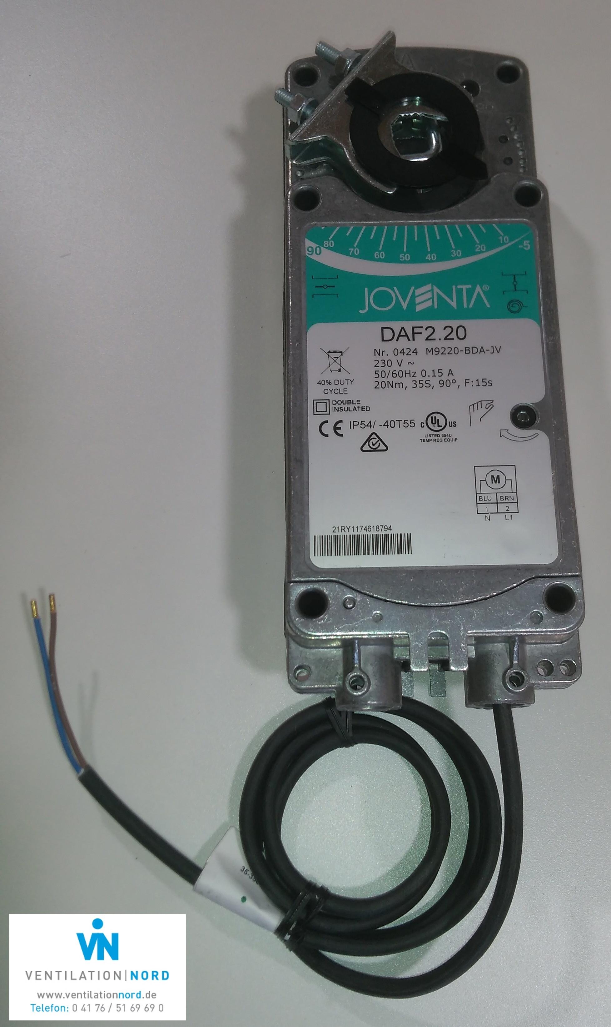 Joventa Klappenstellantrieb DAF2.20S Federrücklauf