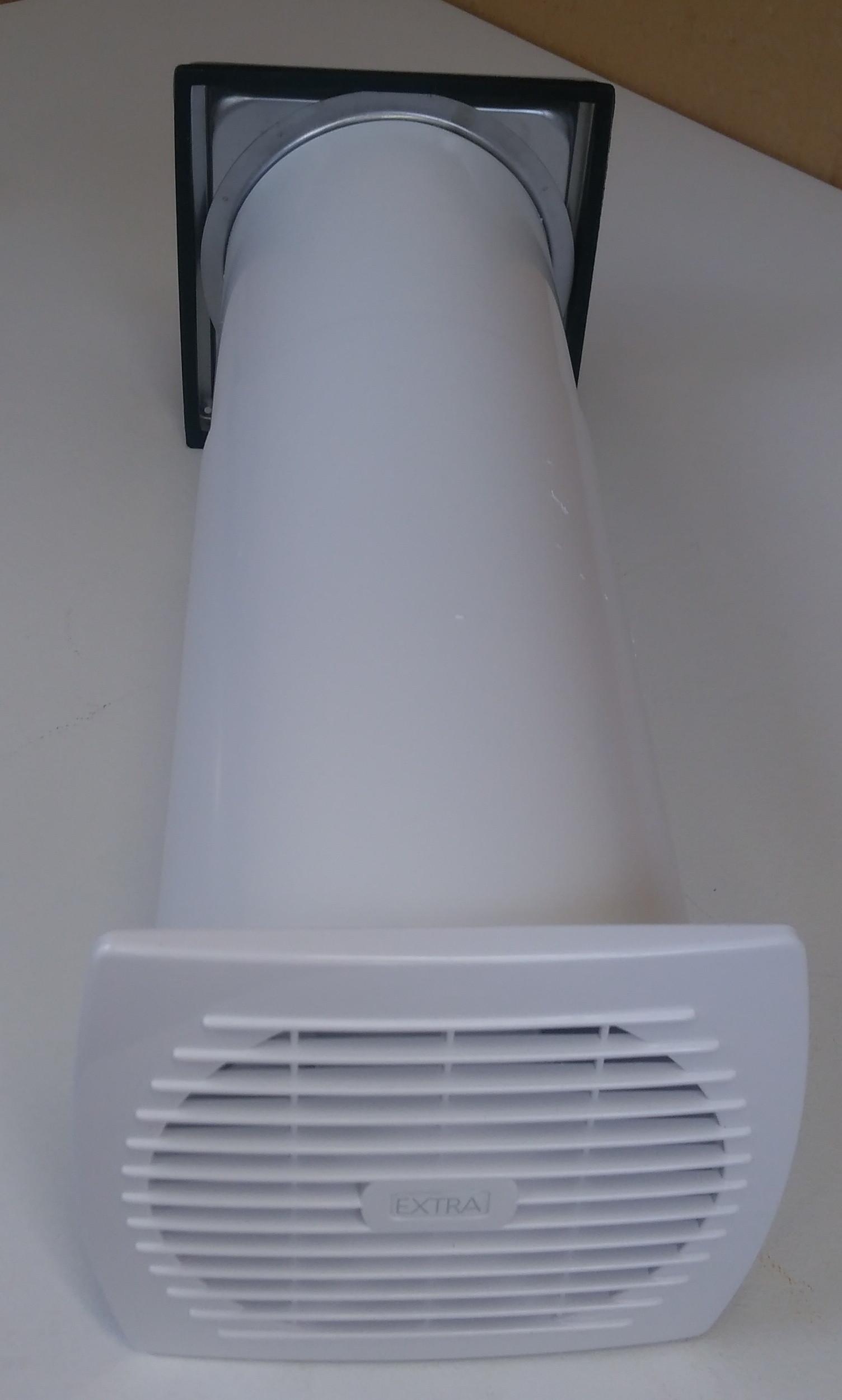 Kleinraumventilator Bad WC Teleskoprohr Edelstahl Wetterschutz Rückstauklappe