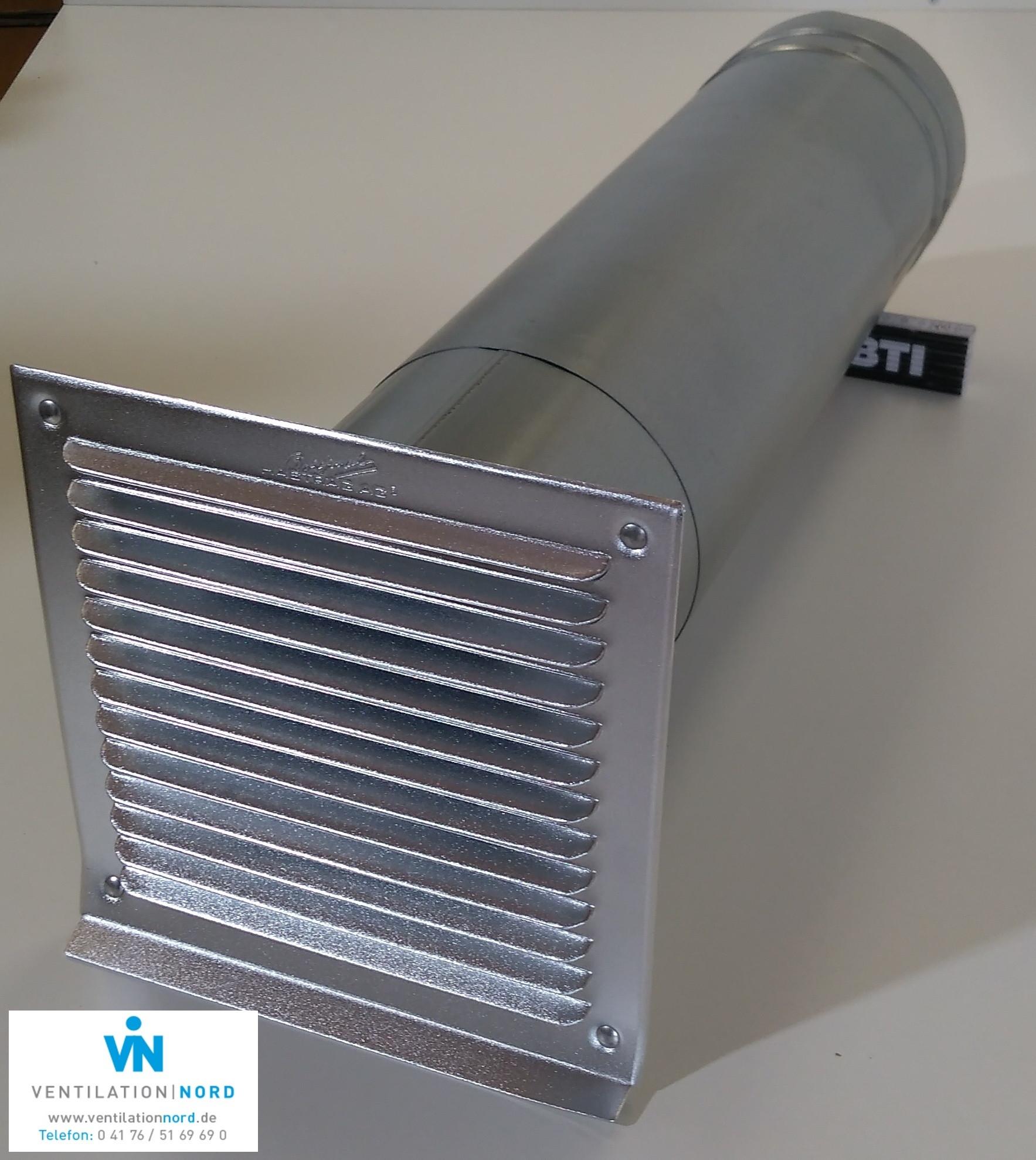 Mauerkasten Stahl verzinkt komplett mit Teleskoprohr und Rückstauklappe
