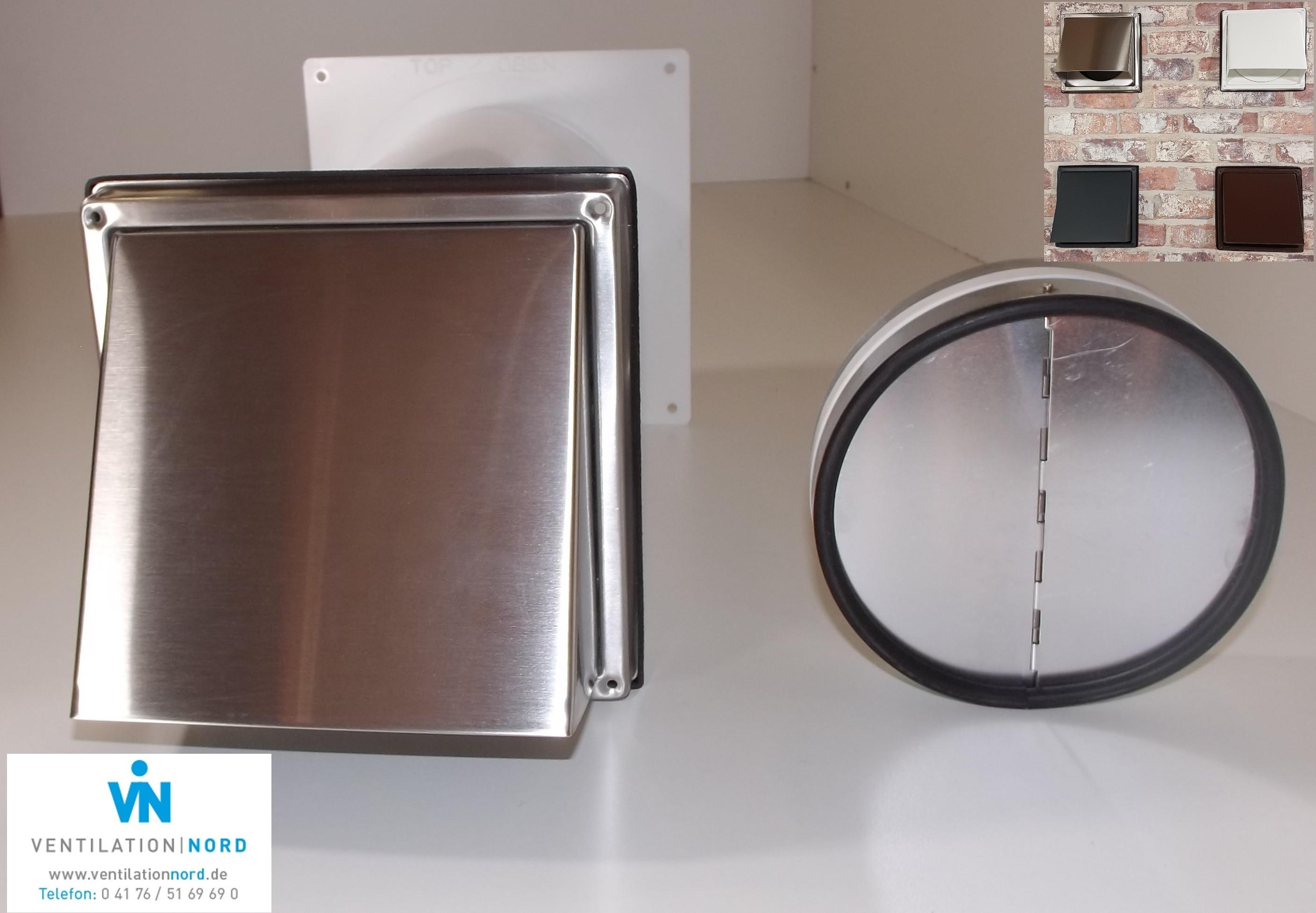 Mauerkasten Dunstabzug Küchen Abluft Edelstahl Rückstauklappe Insektenschutzgitter