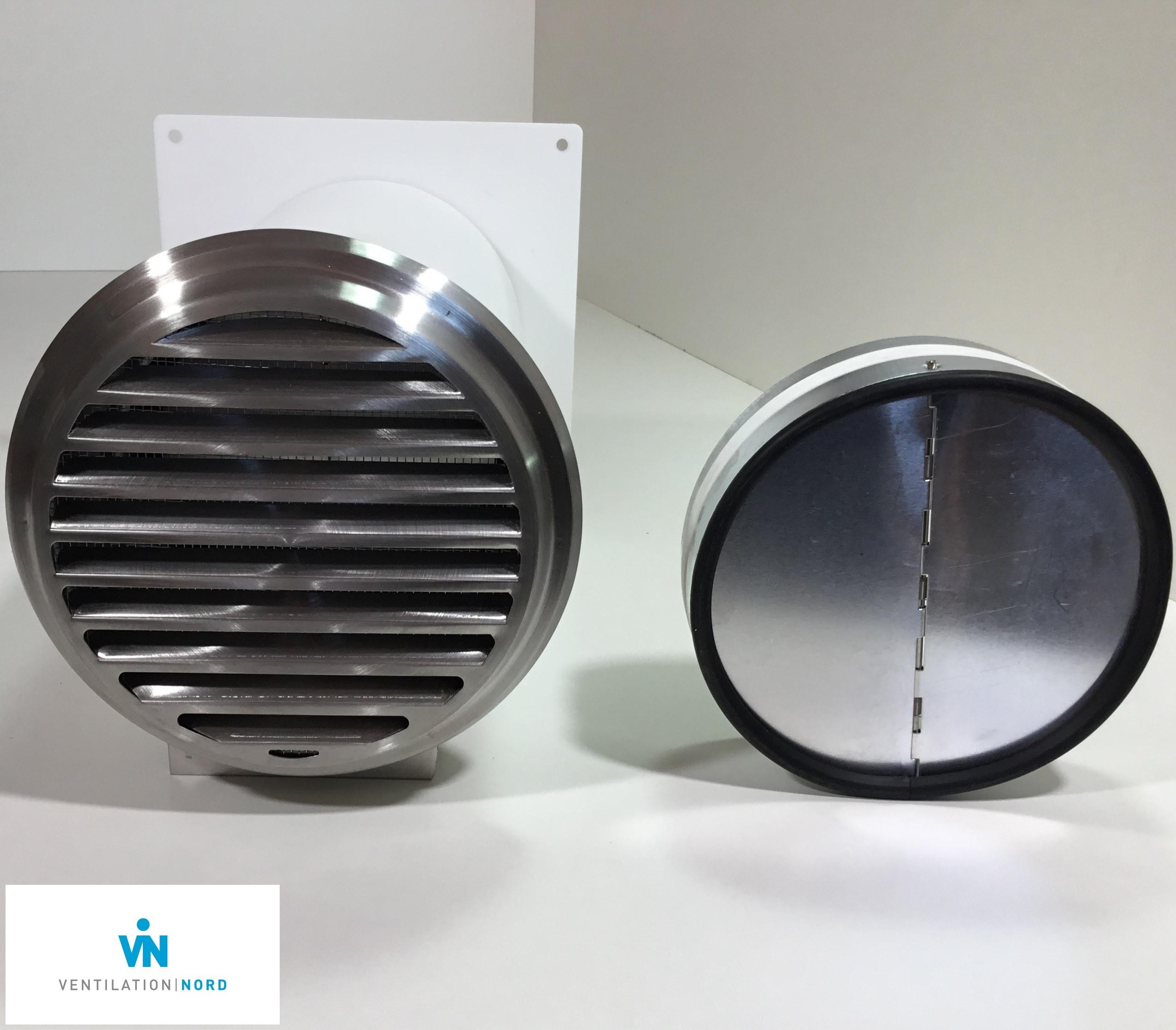 MKWSRLE-VentilationNord-Mauerkasten Dunstabzug 100 125 150 Edelstahl Insektenschutzgitter Rückstauklappe