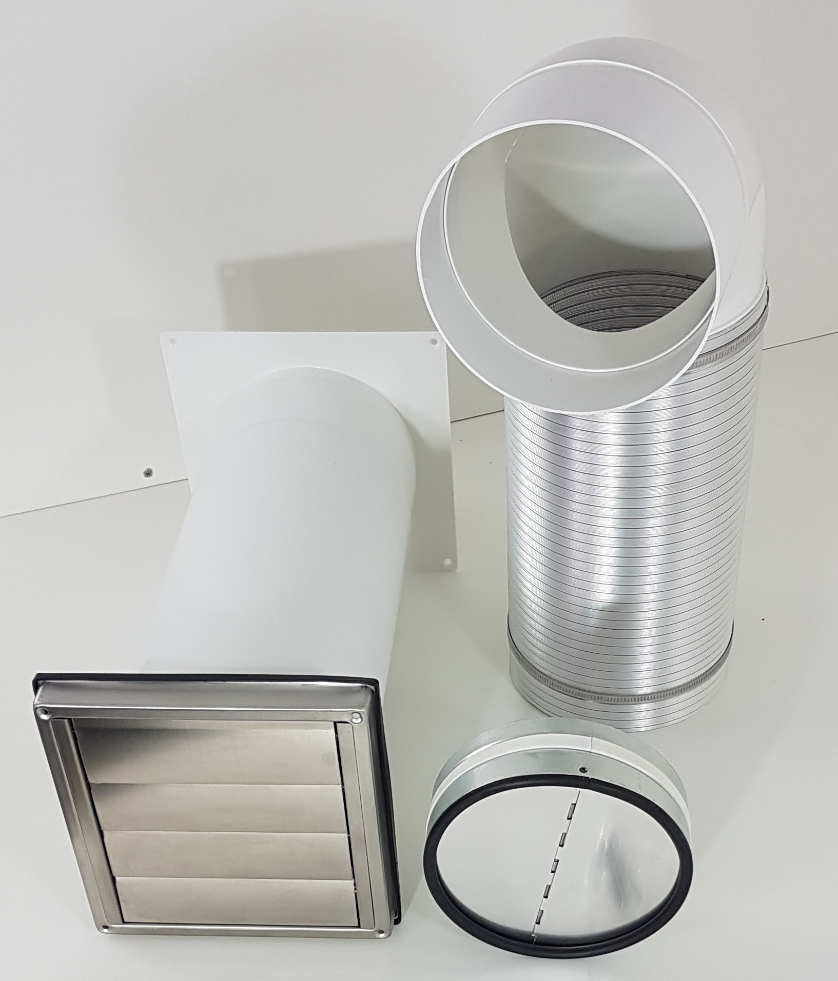 Mauerkasten Dunstabzug 150 Rückstauklappe Rückschlagklappe Edelstahl Teleskoprohr Rohr Set