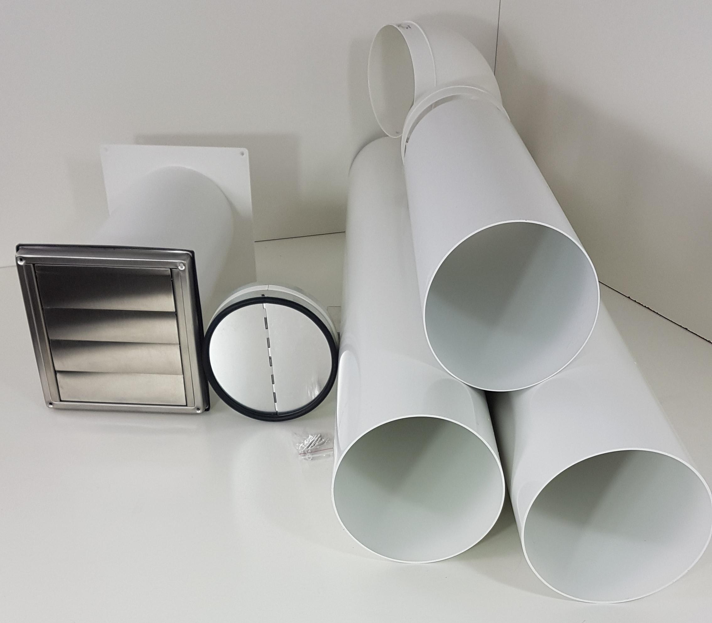 Mauerkasten Dunstabzug Rohr Set 150 Edelstahl Teleskoprohr Insektenschutzgitter