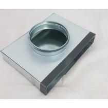 Flachkanal Stahl verzinkt Anschlussstück für Tellerventil, runde Muffe 40mm lang, Endstück