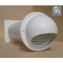 Mauerkasten für z.b. Dunstabzug mit Teleskoprohr und Edelstahl Wetterschutz mit Haube und Rückstauklappe weis MKWSKE-BDSI-W