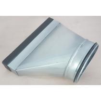 Flachkanal Stahl verzinkt Übergang von Rund auf Flachkanal, asymmetrisch